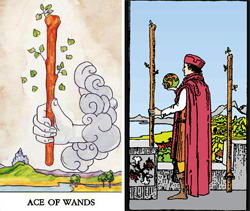 The Ace and Two of Wands