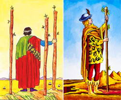 The Three and Five of Wands